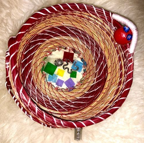 128 Color squares & silver base with red - 1