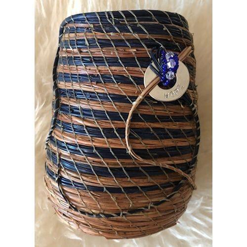 156 - Beads in epoxy base pencil holder:vase - 1