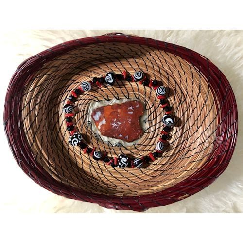 161 - Red rock slice base with black & red beads - 1