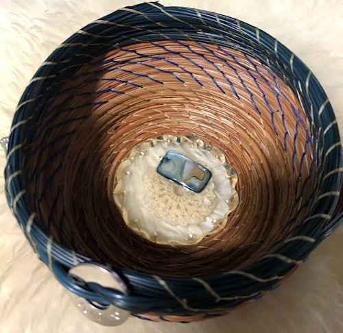 Blue Stone & crochet round acrylic base #175 - 1