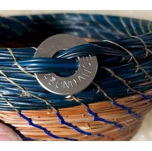 Blue Stone & crochet round acrylic base #175 - 2