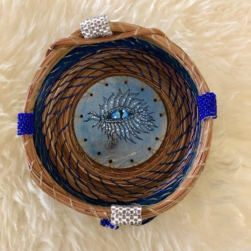 Wooden Disk with blue fantasy eye #181 - 1